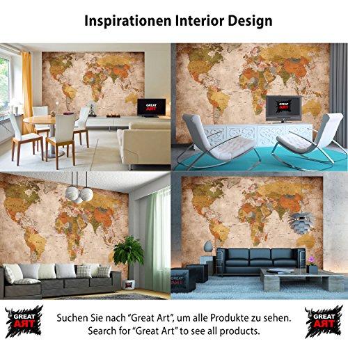 Foto Mural Vintage Mapa Mundial - Tapiz Decoración paises y continentes. (336 x 238 cm)